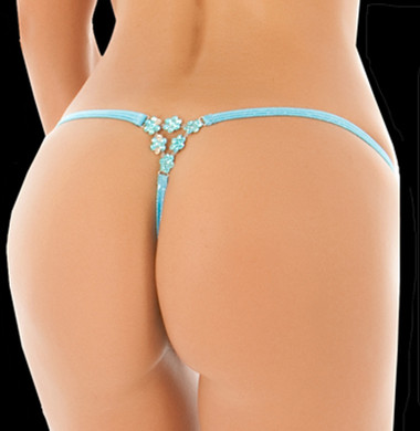 BodyZone Apparel Uncensored Aqua Fleur Thong