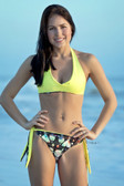 Starwear USA Simone Reversible Tie Side Cheeky Bottom and Haler Top - Fish Skeletons and Yellow