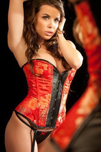 Allure Lingerie Leather and Brocade 'kelly' Corset