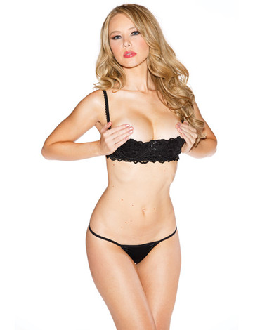 Shirley of Hollywood Chopper Bar Shelf Bra w/Uplifting Cleavage, Adjustable Straps & Back - Black