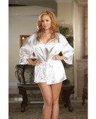Dreamgirl Charmeuse Short Length Kimono w/Matching Chemise (Queen Size) - White