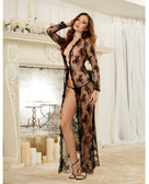 Dreamgirl Delicate Lace Open Front Gown & G-String
