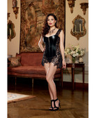 Dreamgirl Faux Leather Venice Lace Fully Boned Corset w/Hi-Low Attached Skirt & Thong (Queen Size)