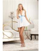 Dreamgirl Nuptial Pleated Chiffon Flyaway Back Babydoll w/Open Back Panty