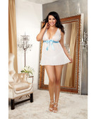 Dreamgirl Nuptial Pleated Chiffon Flyaway Back Babydoll w/Open Back Panty (Queen Size)