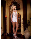 Dreamgirl Nuptial Satin Charmeuse w/Scalloped Lace Trim & Criss Cross Adjustable Straps & Thong