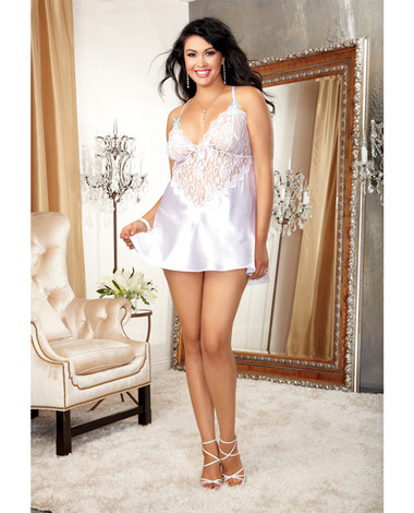Dreamgirl Nuptial Satin Charmeuse w/Scalloped Lace Trim & Criss Cross Adjustable Straps & Thong (Queen Size)