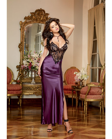 Dreamgirl Satin Charmeuse Full Length Gown w/Adjustable Criss Cross Straps & Thong