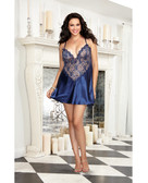 Dreamgirl Satin Charmeuse w/Scalloped Lace Trim & Criss Cross Adjustable Straps & Thong (Queen Size) - Midnight Blue