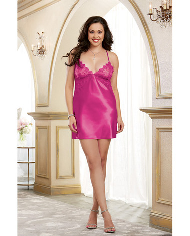 Dreamgirl Satin Chemise w/Embroidery Cup, Adjustable Criss-Cross Straps & Low Back (Queen Size) - Magenta