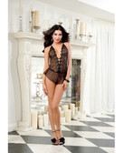 Dreamgirl Sheer Embroidery Teddy w/Flutter Short & Elastic Waist & Criss Cross Adjustable Straps