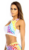 Fit By M Sexy Cut Out Flex Racer Back Supportive Sports Bra Top - White/Hearts