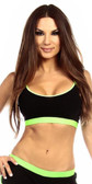 Fit By M Sexy Neon Trim Fit Principle Athletic Crop Top Sports Bra Top - Black/Neon Green