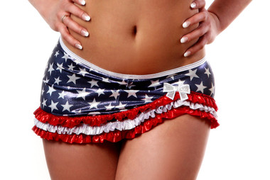 BodyZone Apparel Patriotic Ruffled Asymetrical Skirt