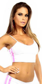 Fit by M Sexy Neon Trim Warm Up Triple Stripe Work Out Fitness Crop Top - Black/White/Hot Pink