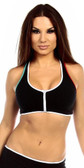 Fit By M Sexy Neon Trim Zip Front Fourt Dimension Athletic Stretch Sports Bra Top - Black/White/Teal/Red