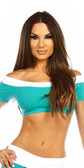 Fit By M Sexy Off Shoulder Namaste Yoga Work Out Gym Top - Teal/White