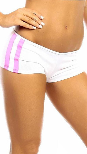 Fit By M Sexy Neon Trim Balance Work Out Triple Stripe Fitness Full Coverage Short - White/Hot Pink