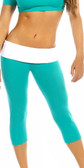 Fit By M Sexy Roll Down Sport Band Stretch To Fit Shred Capri Yoga Leggings -  Teal/White