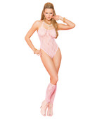 Elegant Moments Lace Teddy and Matching Stockings
