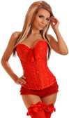Daisy Corset Plus Size Red Embroidered Burlesque Corset