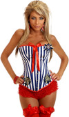 "Daisy Corset Navy/White Plus Size ""Pin-Up Sailor"" Burlesque Corset"