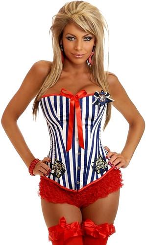 """Daisy Corset Navy/White Plus Size """"Pin-Up Sailor"""" Burlesque Corset"""