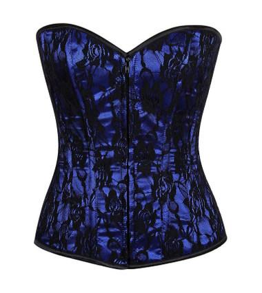 Daisy Corset Lavish Blue Lace Front Zipper Corset