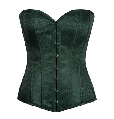 Daisy Corset Lavish Dark Green Brocade Corset