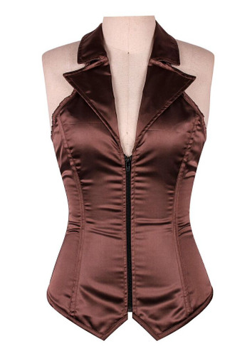 Daisy Corset Lavish Brown Collared Front Zipper Corset