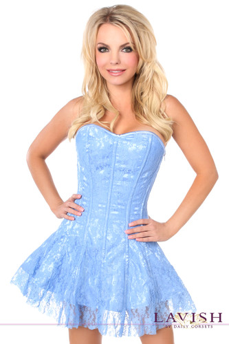 Daisy Corset Lavish Pastel Blue Lace Corset Dress