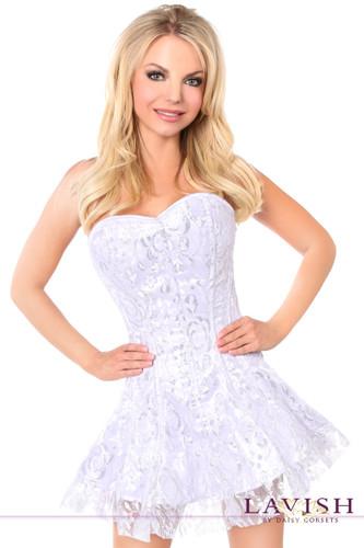 Daisy Corset Lavish White/Silver Lace Corset Dress
