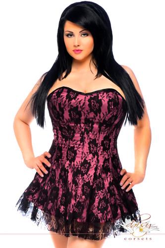 Daisy Corset Lavish Plus Size Pink Lace Corset Dress