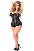 Daisy Corset Top Drawer Black Lace Steel Boned Corset with Rhinestone