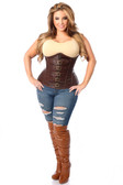 Daisy Corset Top Drawer Dark Brown Distressed Faux Leather Underbust Buckle Corset