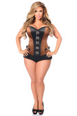 Daisy Corset Top Drawer Brown/Black Buckle Steel Boned Corset