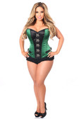 Daisy Corset Top Drawer Dark Green Buckle Steel Boned Corset
