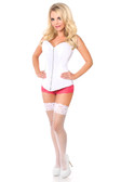Daisy Corset Top Drawer White Satin Steel Boned Corset