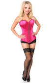 Daisy Corset Top Drawer Fuchsia Satin Steel Boned Corset