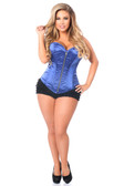 Daisy Corset Top Drawer Royal Blue Satin Steel Boned Corset