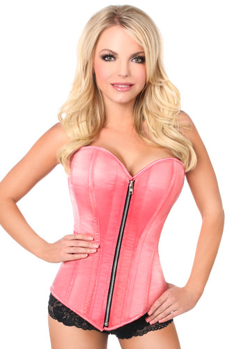 Daisy Corset Top Drawer Coral Satin Steel Boned Corset