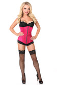 Daisy Corset Top Drawer Fuchsia Satin Underbust Steel Boned Corset