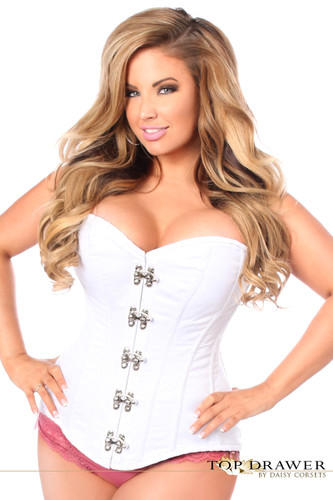 Daisy Corset Top Drawer White Steel Boned Corset with Clasp Closure
