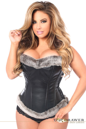 Daisy Corset Top Drawer Steel Boned Faux Leather Fur Trimmed Corset