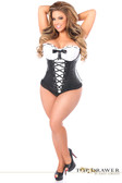 Daisy Corset Top Drawer Faux Leather Peasant Top Steel Boned Corset