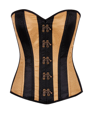 Daisy Corset Top Drawer Two-Tone Brocade Overbust Corset with Clasps