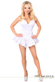 Daisy Corset Top Drawer White Satin Steel Boned Corset Dress