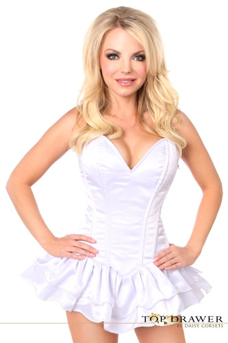 Daisy Corset Top Drawer White Satin Steel Boned Corset Dress