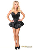 Daisy Corset Top Drawer Black Satin Steel Boned Corset Dress