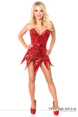 Daisy Corset Top Drawer Red Sequin Steel Boned Corset Dress